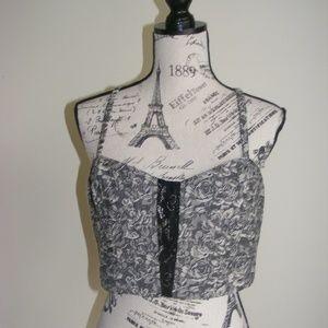 Anthropologie Pins & Needles Floral Knit Crop Top
